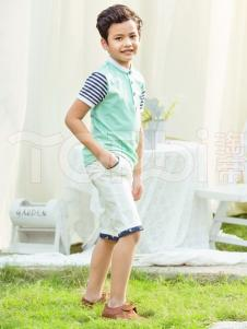 TOPBI淘帝童装男童立领短袖衬衫