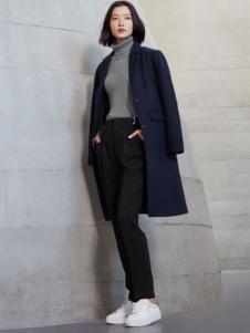 对白女装新品宝蓝色西装领大衣