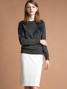 雅意娜菲女装新品灰色圆领针织上衣