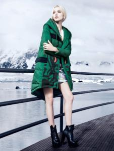 必芙丽绿色宽松棉衣