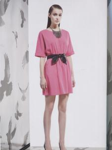 阿莱贝琳粉色束腰连衣裙