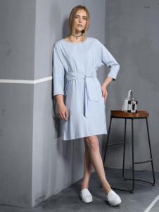 安娜ANNA女装秋冬款蓝色收腰连衣裙