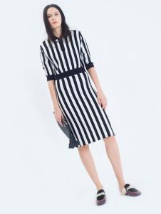 LOFTSHINE女装新品收腰条纹连衣裙