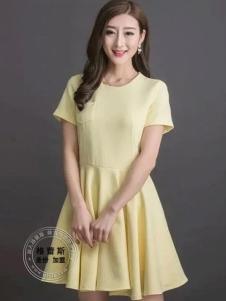 格蕾斯黄色A字百褶连衣裙