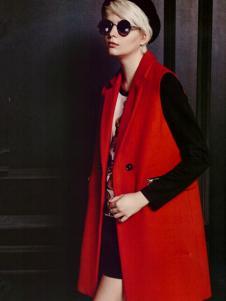 薇妮兰红色无袖呢大衣