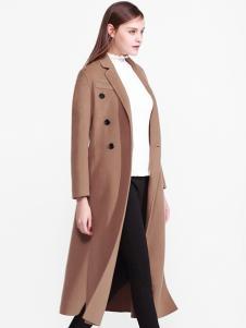 爱为女装长款开叉呢大衣