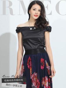 浪漫一身女装新品一字肩连衣裙