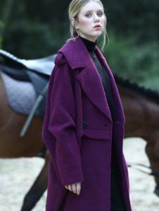 ALSCANA女装新品紫色廓形大衣