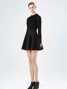 保时霓黑色时尚连衣裙