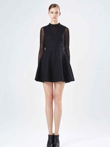 保时霓黑色收腰连衣裙
