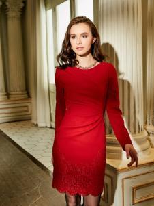 尚约红色时尚连衣裙新款