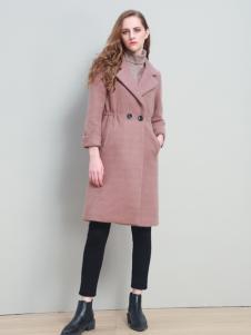 爱为女装粉色收腰呢大衣
