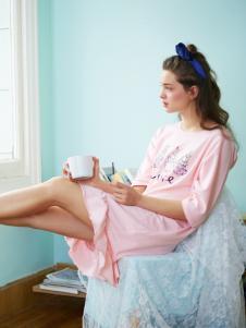 阪织屋家居服新品粉色圆领连衣裙