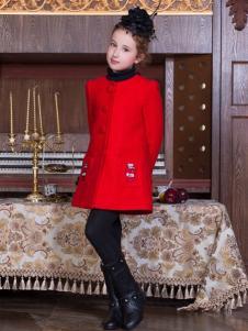 PCORA巴柯拉童装女童红色呢大衣