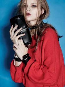 ALLYALL艾利欧女装2017春季新品红色毛衣