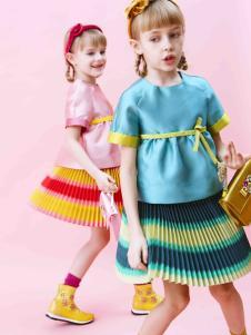 IKKI(安娜与艾伦)童装新品多彩褶裙