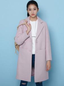 凡兔女装粉色直筒修身呢大衣