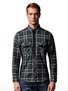 福特男装墨绿色格子衬衫