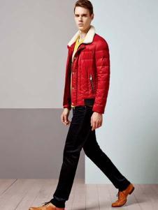艾凡男装红色棉服