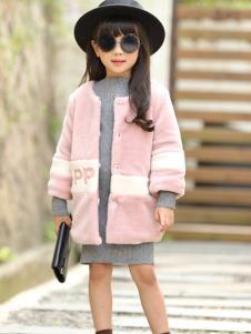 乔克叔叔童装粉色毛绒大衣