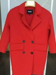 MaxEmma女装红色双排扣翻领大衣