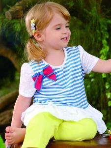 皇后婴儿夏季新款女小童时尚拼接T恤