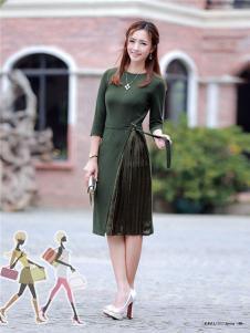 2017年依贝尔春夏新品军绿色连衣裙