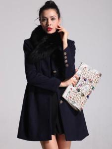 oubasil罗勒女装中长款毛领大衣