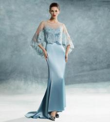BBLLUUEE Gold粉蓝时尚2017春夏新品高端手工定制系列蓝色礼服裙