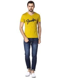 LEICI雷驰男装黄色字母印花T恤