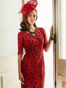 尚约红色蕾丝印花连衣裙