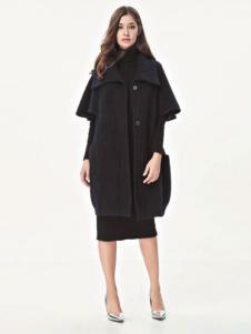 SN新珑新女装新品黑色廓形大衣