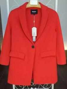 MaxEmma女装红色简约呢大衣