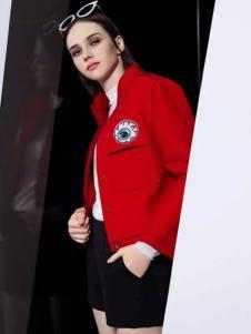 依米奴女装新品红色休闲外套