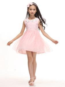 贝蕾地童装粉色纱裙