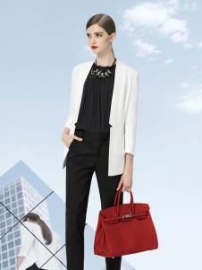 依目了然女装白色职业西装外套