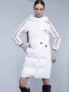 埃文女装秋冬款白色长款修身羽绒服