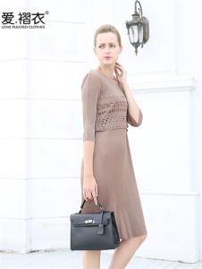 爱褶衣春夏欧美褶皱镂空印花连衣裙