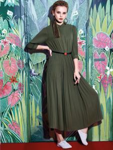知彩2017春季新款军绿色连衣裙
