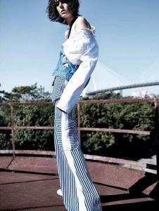 ALLYALL艾利欧女装2017春季新品条纹休闲裤