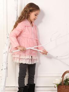 欧可童装粉色裙边外套