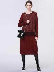 Zopin作品女装酒红色连衣裙