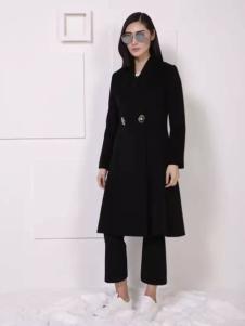THAT'S ALL女装秋冬新品黑色收腰大衣