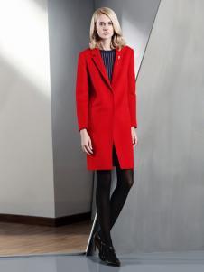 DITTO迪图女装秋冬新品红色西装领大衣