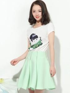 浪漫一身女装新品翠绿色半裙