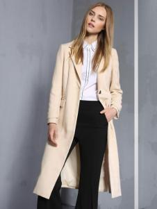 安娜ANNA女装秋冬款过膝长款大衣