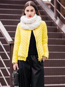 尹红女装秋冬款黄色短款棉衣