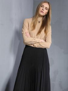 安娜ANNA女装秋冬款黑色褶裙
