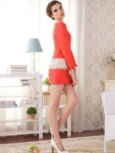 Sanlady女装橙黄色包臀连衣裙