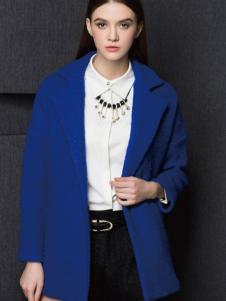 Enaco爱妮格女装蓝色翻领呢大衣